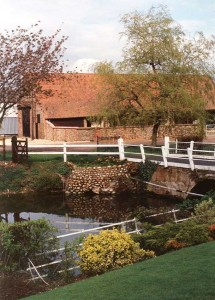 Whissonsett Hall, the moat and barn